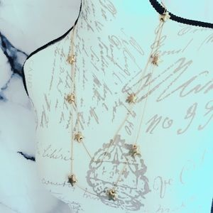 Gold Tone Stars Vintage Necklace Pinup